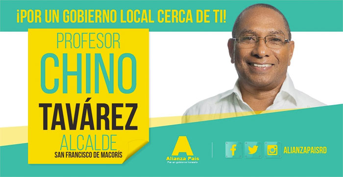 Juan Francisco Tavárez (Chino), candidato a la alcaldía de San Francisco de Macorís.
