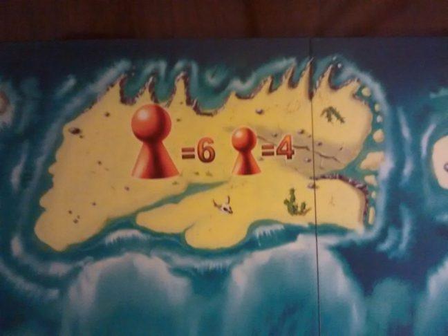 Detalle de la puntuación en la isla central.