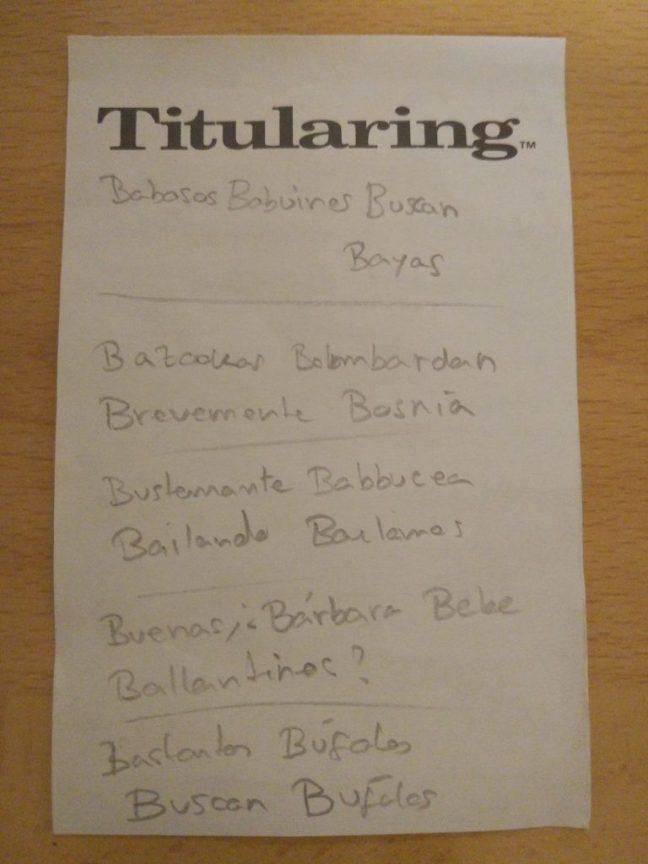 Ejemplo partida Titularing