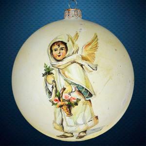 Стеклянный елочный винтажный шар Ангел винтажный