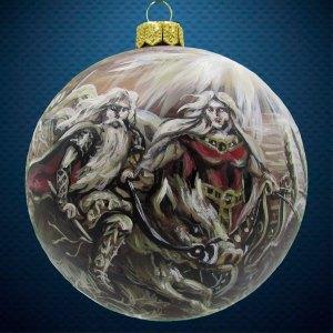 Стеклянный елочный винтажный шар из серии Древние Боги Фрейр и Фрейя