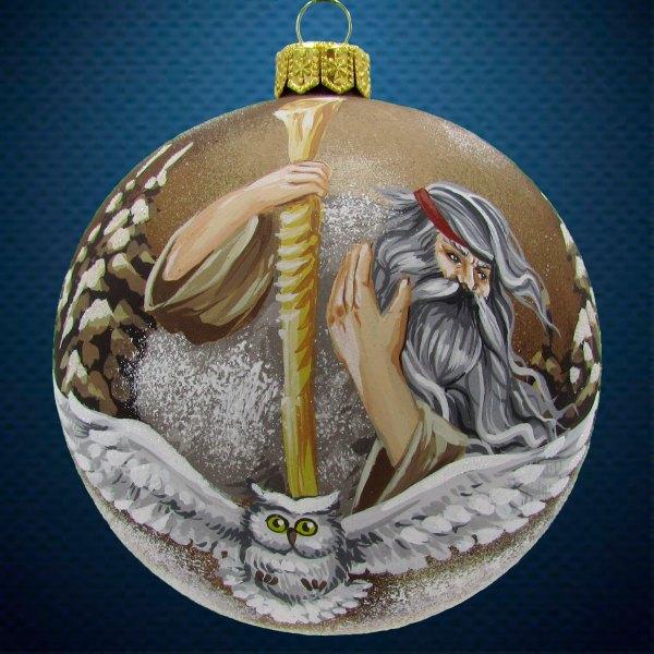 Стеклянный елочный винтажный шар из серии Древние Боги Чернобог