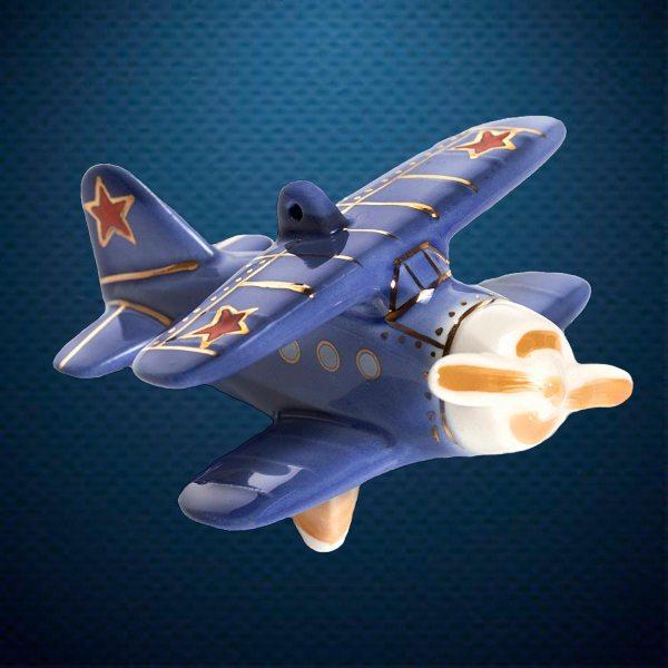 Самолет Керамическая елочная игрушка из серии Ретротехника Фарфоровая Мануфактура