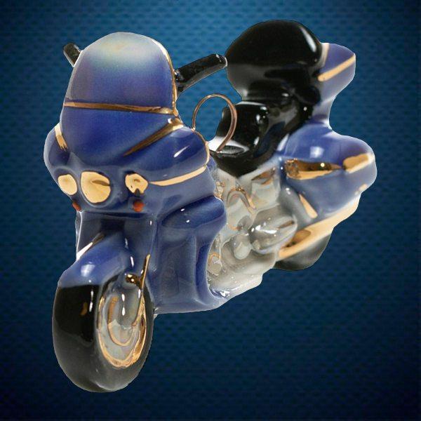 Мотоцикл Керамическая елочная игрушка из серии Ретротехника Фарфоровая Мануфактура