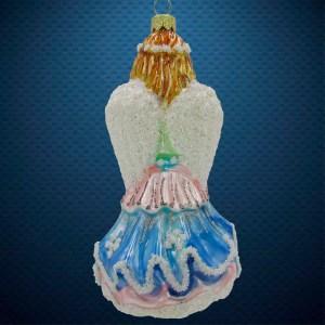 Стеклянная елочная игрушка Ангел с арфой 2