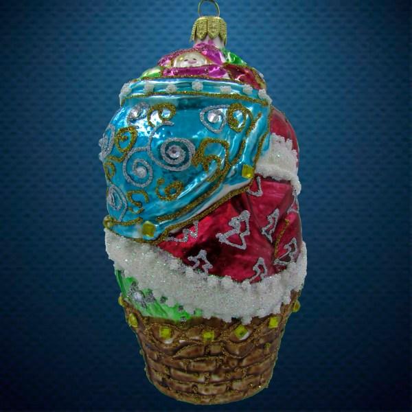 Стеклянная елочная игрушка Санта на корзине 2