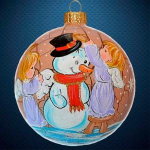 Стеклянный елочный винтажный шар Снеговик с ангелочками