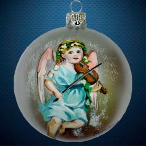 Стеклянный елочный винтажный шар Ангел со скрипкой