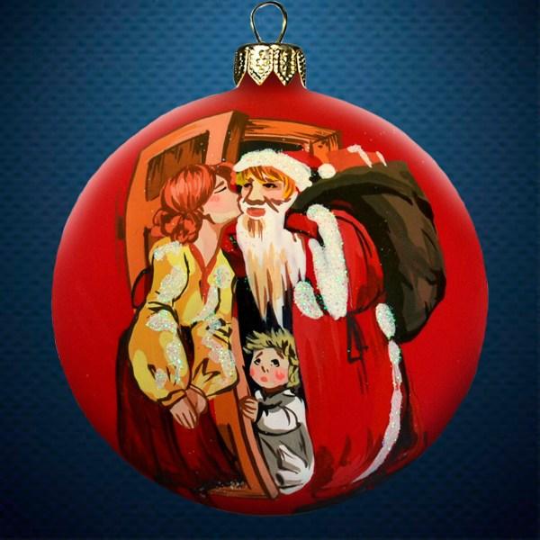 Стеклянный елочный винтажный шар Счастливая семья