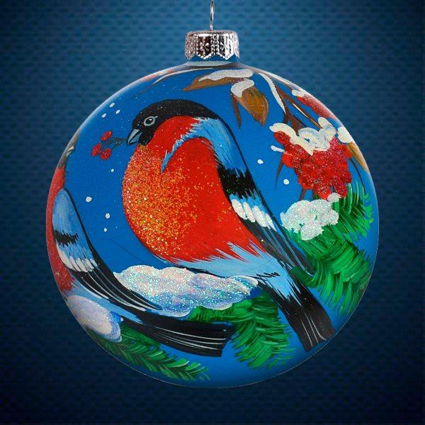 Стеклянный елочный винтажный шар из серии Птички и звери Снегири с рябиной