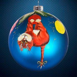 Стеклянный елочный винтажный шар из серии Птички и звери Кот проказник