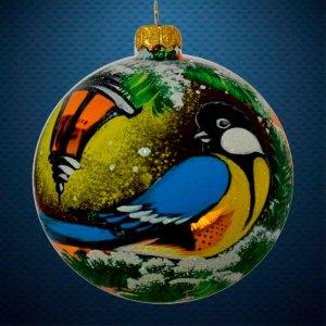 Стеклянный елочный винтажный шар из серии Птички и звери Синичка под фонарем
