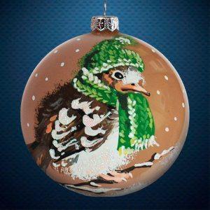 Стеклянный елочный винтажный шар из серии Птички и звери Птенец в шапочке