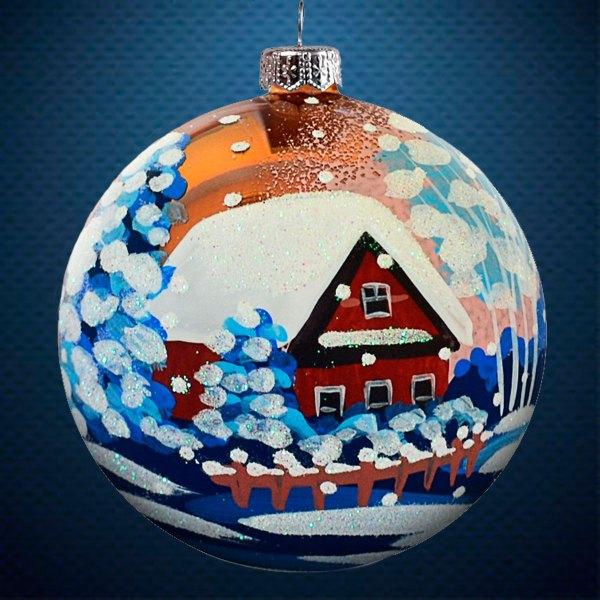 Стеклянный елочный винтажный шар Пейзажи Зима на селе