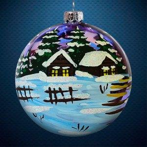 Стеклянный елочный винтажный шар Пейзажи Зимний вечер в деревне