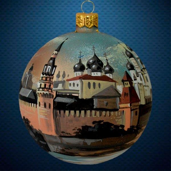 Стеклянный елочный винтажный шар Города мира Москва Белокаменная