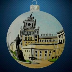 Стеклянный елочный винтажный шар Города мира Сталинская высотка Москва