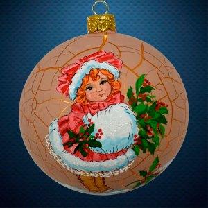 Стеклянный елочный винтажный шар Девочка с муфтой