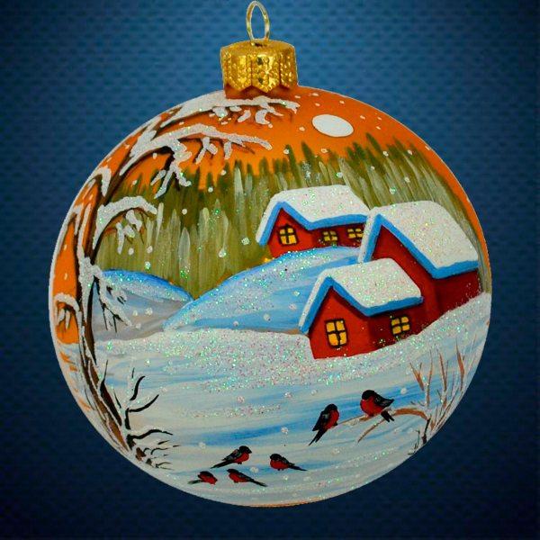 Стеклянный елочный винтажный шар Снегири