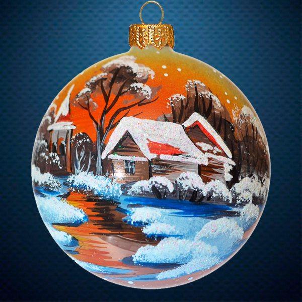 Стеклянный елочный винтажный шар Первый снег