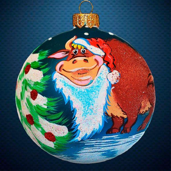 Стеклянный елочный винтажный шар символ года Дед Мороз