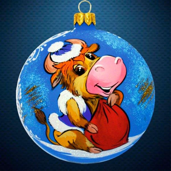 Стеклянный елочный винтажный шар символ года Корова с мешком подарков