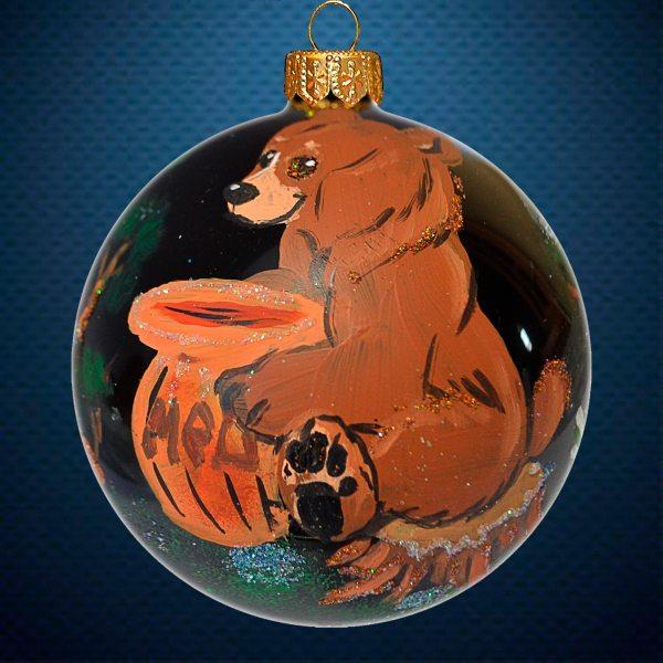 Стеклянный елочный винтажный шар Мишка с медом