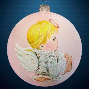 Стеклянный елочный винтажный шар Ангелочек на облачке