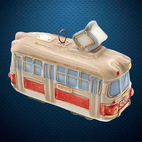Трамвай Керамическая елочная игрушка из серии Ретротехника Фарфоровая Мануфактура