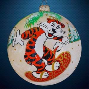 Стеклянный елочный винтажный шар символ года Сноубордист