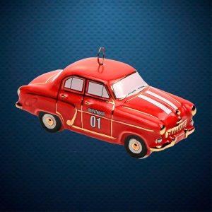 Волга пожарная Керамическая елочная игрушка из серии Ретротехника Фарфоровая Мануфактура