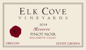 2018 Reserve Pinot Noir Label