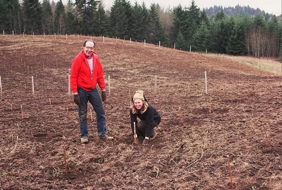 Pat and Grandpa Lew Planting La Boheme Vineayard