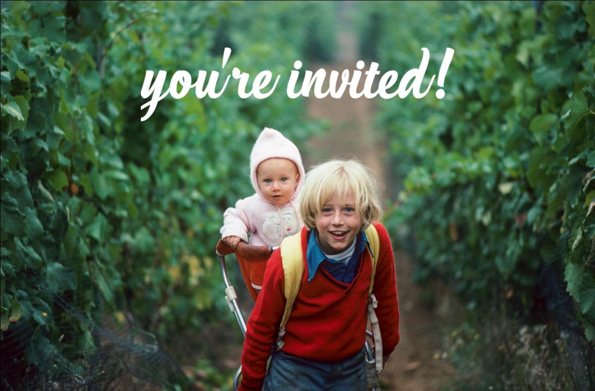 Adam and Anna Campbell as kids with text reading You're Invited!