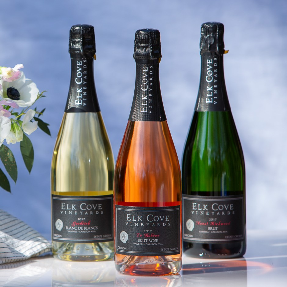 three bottles of sparkling wine