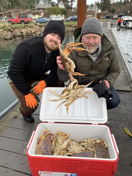 Adam holding Dungeness crab