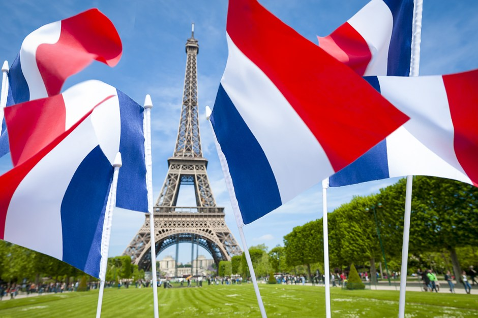 Eiffel Tower and French Flags