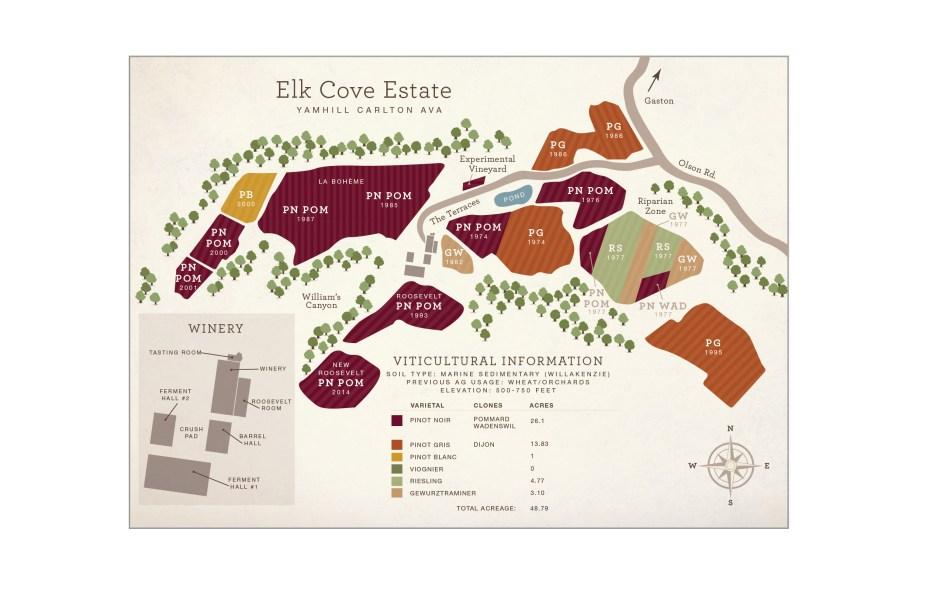 Map of the Elk Cove Estate Vineyard