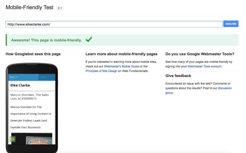 ElkeClarke.com is Mobile Friendly