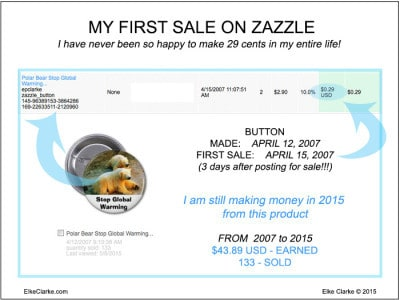 My First Sale On Zazzle My First Sale On Zazzle - I made 29 cents royalty on a button and still earn money 8 years later
