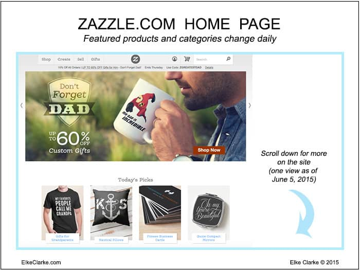 The Zazzle.com Home Page changes daily showcasing different categories, products and featured designers and brands.