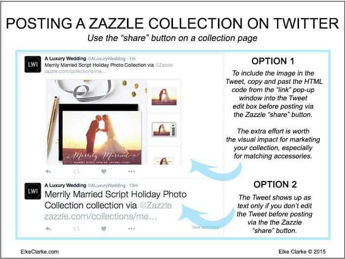 2 options for posting a Zazzle collection on Twitter, with an image or just with text