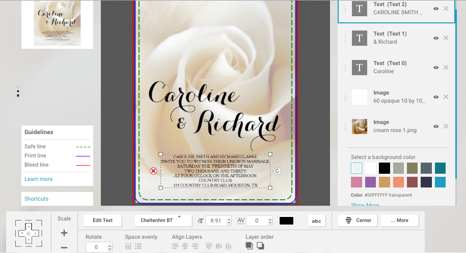 Here is a look at the Zazzle design tool showing how I made my invitation with my cream rose photo. Sell your art and photos online.
