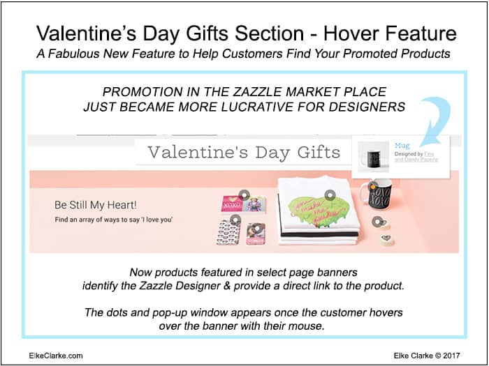 Valentine's Day Products Linked via New Zazzle Hover Feature