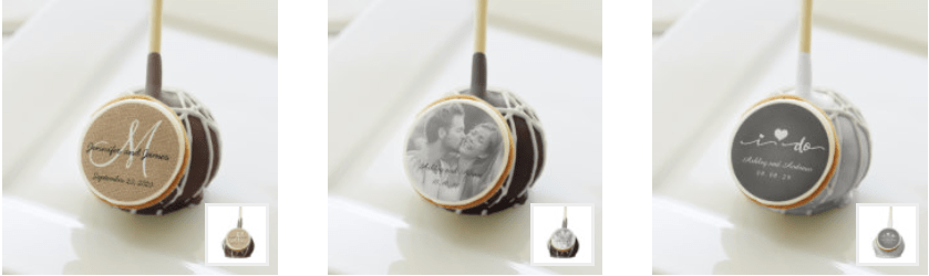 Edible Wedding Favor Designs by Elke Clarke on Cake Pops for Sale at www.zazzle.com/monogramgallery