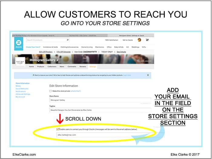 How to Add Add Your Contact Email to Your Zazzle Store Settings Page