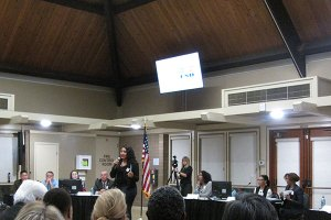 Sharie Wilson speaks at the Town Hall Meeting on October 23rd.