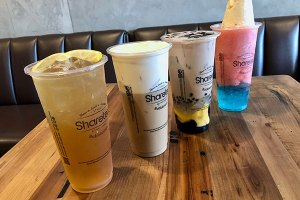 Winter Melon with Lemon Juice, Coffee Crema,  QQ Happy Family Milk Tea, Cotton Candy: Strawberry Raspberry blended, Blueberry boba, and Vanilla Ice Cream