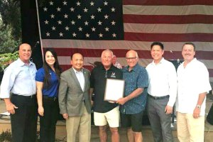 City Council Member Steve Detrick, City Council Member Stephanie Nguyen, Mayor Steve Ly, Original Owner Doug Silva, Current Owner Jeffrey Adkins, Vice-Mayor Darren Suen, & City Council Member Pat Hume