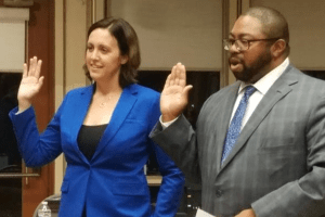 Cosumnes CSD Director Jaclyn Moreno and Cosumnes CSD Director Rod Brewer recite the Oath of Office.